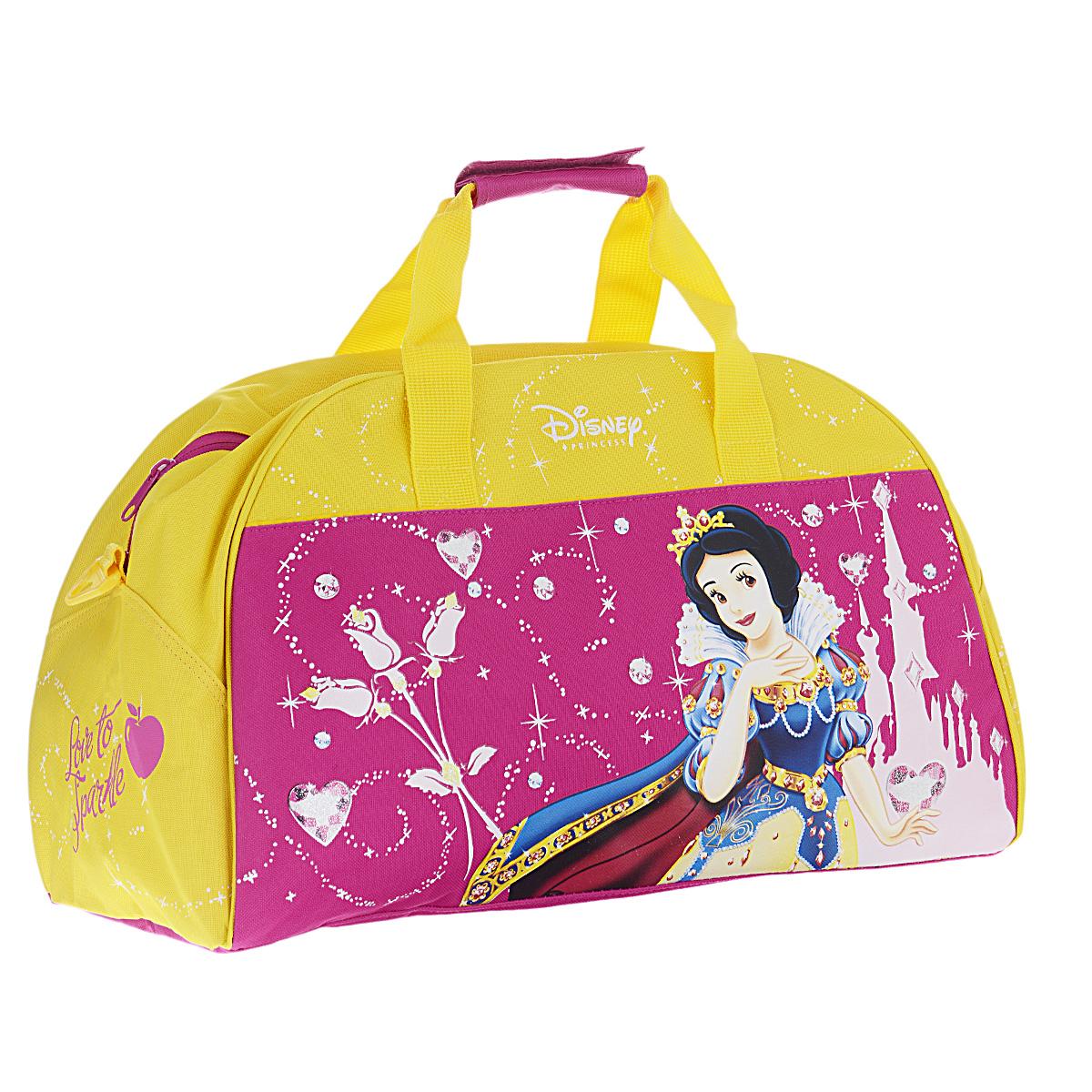 Disney Princess Сумка спортивная детская цвет розовый желтыйPRJW-09T-3452Детская спортивная сумка Princess придется по вкусу любой активной девочке, посещающей спортзал или спортивные секции. Сумка изготовлена из высококачественного износостойкого полиэстера и оформлена оригинальным цветочным принтом и изображением Белоснежки в роскошном наряде принцессы. Сумка состоит из одного вместительного отделения, закрывается на застежку-молнию. Внутри располагается небольшой накладной карман на застежке-молнии. Сумка имеет съемное твердое дно, которое при необходимости можно извлечь. Сумка имеет удобные ручки для переноски, скрепляющиеся хлястиком на липучке, а также съемный плечевой ремень, регулирующийся по длине. Дно сумки оснащено пластиковыми ножками, обеспечивающими необходимую устойчивость. Спортивная сумка - незаменимый аксессуар для юной спортсменки, который сочетает в себе практичность и модный дизайн. Красочная сумка сделает посещение спортивных секций не только приятным, но и модным занятием.