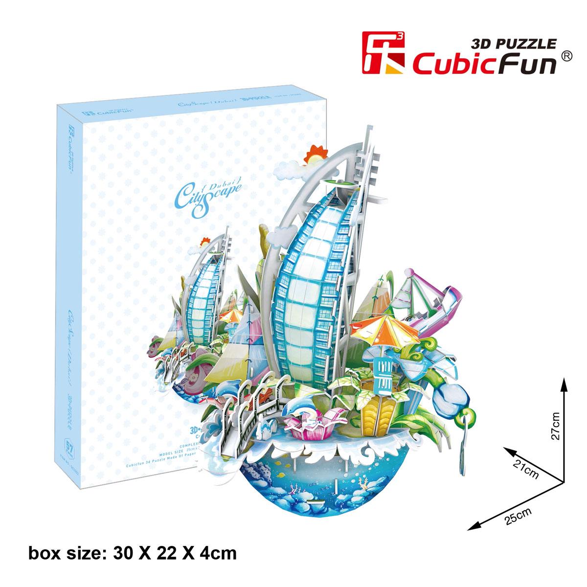 CubicFun Городской пейзаж: Дубаи, 57 элементовOC3202hКонструктор-макет CubicFun Городской пейзаж: Дубаи надолго увлечет вас и вашего малыша. Он позволит ребенку почувствовать себя настоящим архитектором и своими руками собрать необычный стилизованный пейзаж Дубаи. Конструктор включает в себя 57 элементов из мягкого вспененного полимера и подробную иллюстрированную инструкцию. Все детали пронумерованы, и ребенку не составит труда соединить их. Конструктор невероятно прост в применении - вам не понадобятся ножницы или клей, все элементы легко извлекаются из рамок путем выдавливания, и соединяются благодаря вырубкам. Конструктор порадует вас высоким качеством исполнения и детализации, и подарит вашему малышу множество веселых мгновений. Готовый макет станет предметом гордости малыша, он будет великолепным украшением любого интерьера или подарком для родных и близких. Порадуйте своего малыша таким прекрасным подарком!
