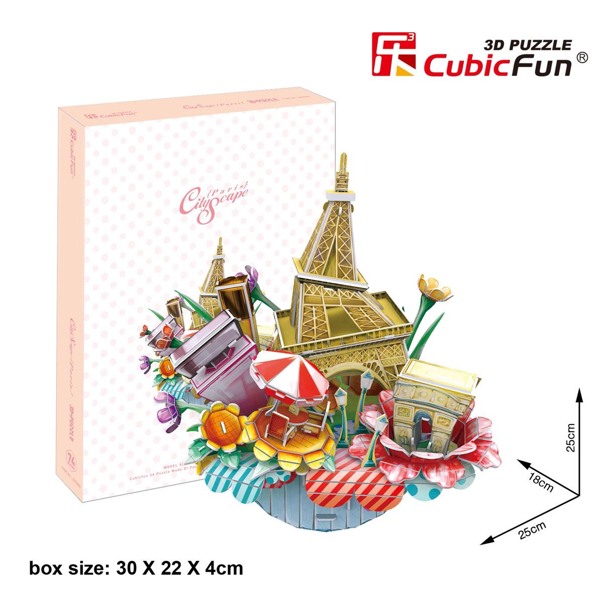 CubicFun Городской пейзаж: Париж, 74 элементаOC3204hКонструктор-макет CubicFun Городской пейзаж: Париж надолго увлечет вас и вашего малыша. Он позволит ребенку почувствовать себя настоящим архитектором и своими руками собрать необычный стилизованный пейзаж Парижа. Конструктор включает в себя 74 элемента из мягкого вспененного полимера и подробную иллюстрированную инструкцию. Все детали пронумерованы, и ребенку не составит труда соединить их. Конструктор невероятно прост в применении - вам не понадобятся ножницы или клей, все элементы легко извлекаются из рамок путем выдавливания, и соединяются благодаря вырубкам. Конструктор порадует вас высоким качеством исполнения и детализации, и подарит вашему малышу множество веселых мгновений. Готовый макет станет предметом гордости малыша, он будет великолепным украшением любого интерьера или подарком для родных и близких. Порадуйте своего малыша таким прекрасным подарком!