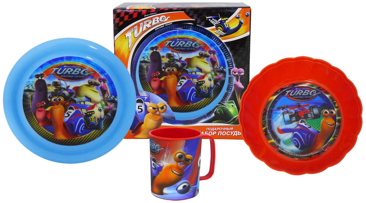 Набор детской посуды DreamWorks Турбо, 3 предметаNT3-1КНабор DreamWorks Турбо, выполненный из пищевого пластика, состоит из чашки, тарелки и глубокой фигурной тарелки. Предметы набора оформлены стерео изображением героев мультфильма Турбо. Небьющаяся посуда, красивая, легкая и удобная в уходе. Ваш малыш с удовольствием будет кушать вместе с любимыми героями. Объем чашки: 325 мл. Диаметр по верхнему краю: 7,7 см. Высота стакана: 9,5 см. Диаметр тарелки: 19,5 см. Высота стенок: 2 см. Диаметр глубокой тарелки: 18 см. Высота стенок: 4 см.