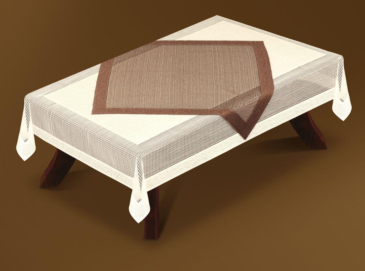 Скатерть Haft Gold Line, с накладкой, прямоугольная, цвет: кремовый, коричневый, 130 x 180 см. 201090-130201090-130Великолепная прямоугольная скатерть Haft Gold Line, выполненная из полиэстера, органично впишется в интерьер любого помещения, а оригинальный дизайн удовлетворит даже самый изысканный вкус. В комплекте квадратная накладка. Изделия выполнены из сетчатого материала. Скатерть Haft Gold Line создаст праздничное настроение и станет прекрасным дополнением интерьера гостиной, кухни или столовой. Размер накладки: 90 см х 90 см.