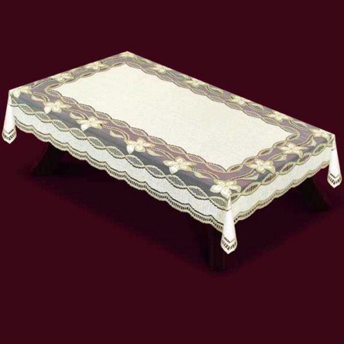 Скатерть Haft, прямоугольная, цвет: кремовый, золотистый, 150 x 300 см. 42950-15042950-150Великолепная прямоугольная скатерть Haft, выполненная из полиэстера, органично впишется в интерьер любого помещения, а оригинальный дизайн удовлетворит даже самый изысканный вкус. Скатерть изготовлена из сетчатого материала с ажурным цветочным рисунком. Края скатерти ажурные. Скатерть Haft создаст праздничное настроение и станет прекрасным дополнением интерьера гостиной, кухни или столовой.