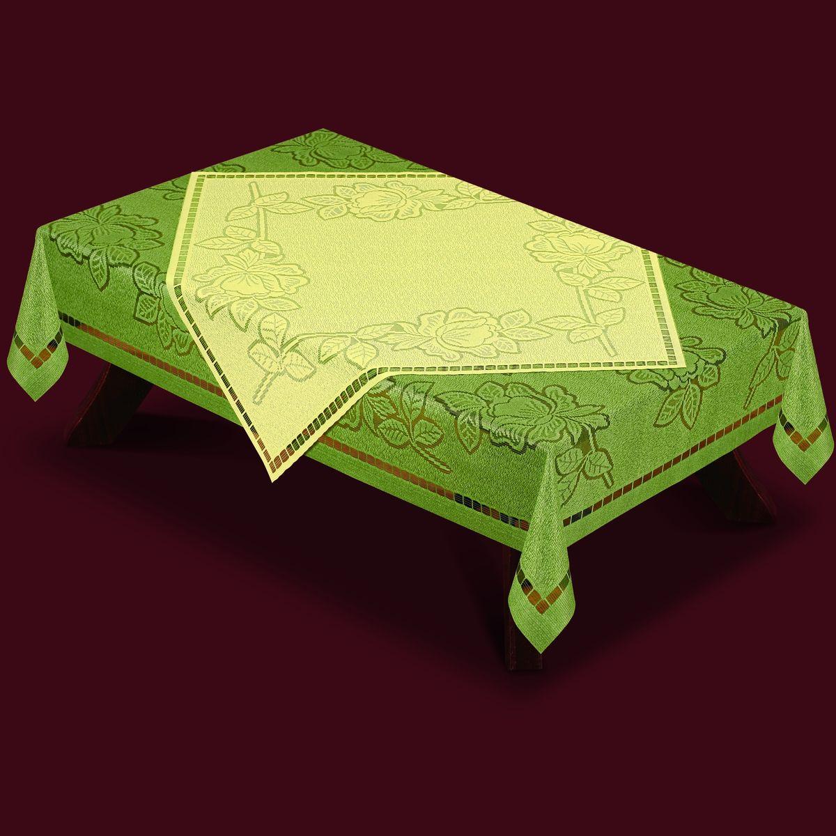 Скатерть Haft, с накладкой, прямоугольная, цвет: оливковый, молочный, 180 x 130 см. 46370-13046370-130Великолепная прямоугольная скатерть Haft, выполненная из полиэстера, органично впишется в интерьер любого помещения, а оригинальный дизайн удовлетворит даже самый изысканный вкус. Скатерть изготовлена из сетчатого материала с ажурным цветочным рисунком. В комплекте квадратная накладка, декорированная ажурным цветочным рисунком. Комплект Haft создаст праздничное настроение и станет прекрасным дополнением интерьера гостиной, кухни или столовой. Размер скатерти: 180 см х 130 см. Размер накладки: 80 см х 80 см.