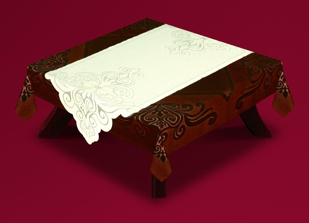 Скатерть Haft, с накладкой, квадратная, цвет: коричневый, молочный, 140 x 140 см. 54722-14054722-140Великолепная квадратная скатерть Haft, выполненная из полиэстера, органично впишется в интерьер любого помещения, а оригинальный дизайн удовлетворит даже самый изысканный вкус. Скатерть изготовлена из сетчатого материала с ажурным цветочным рисунком по краям. В комплекте прямоугольная накладка, декорированная ажурным цветочным рисунком. Комплект Haft создаст праздничное настроение и станет прекрасным дополнением интерьера гостиной, кухни или столовой. Размер скатерти: 140 см х 140 см. Размер накладки: 60 см х 140 см.