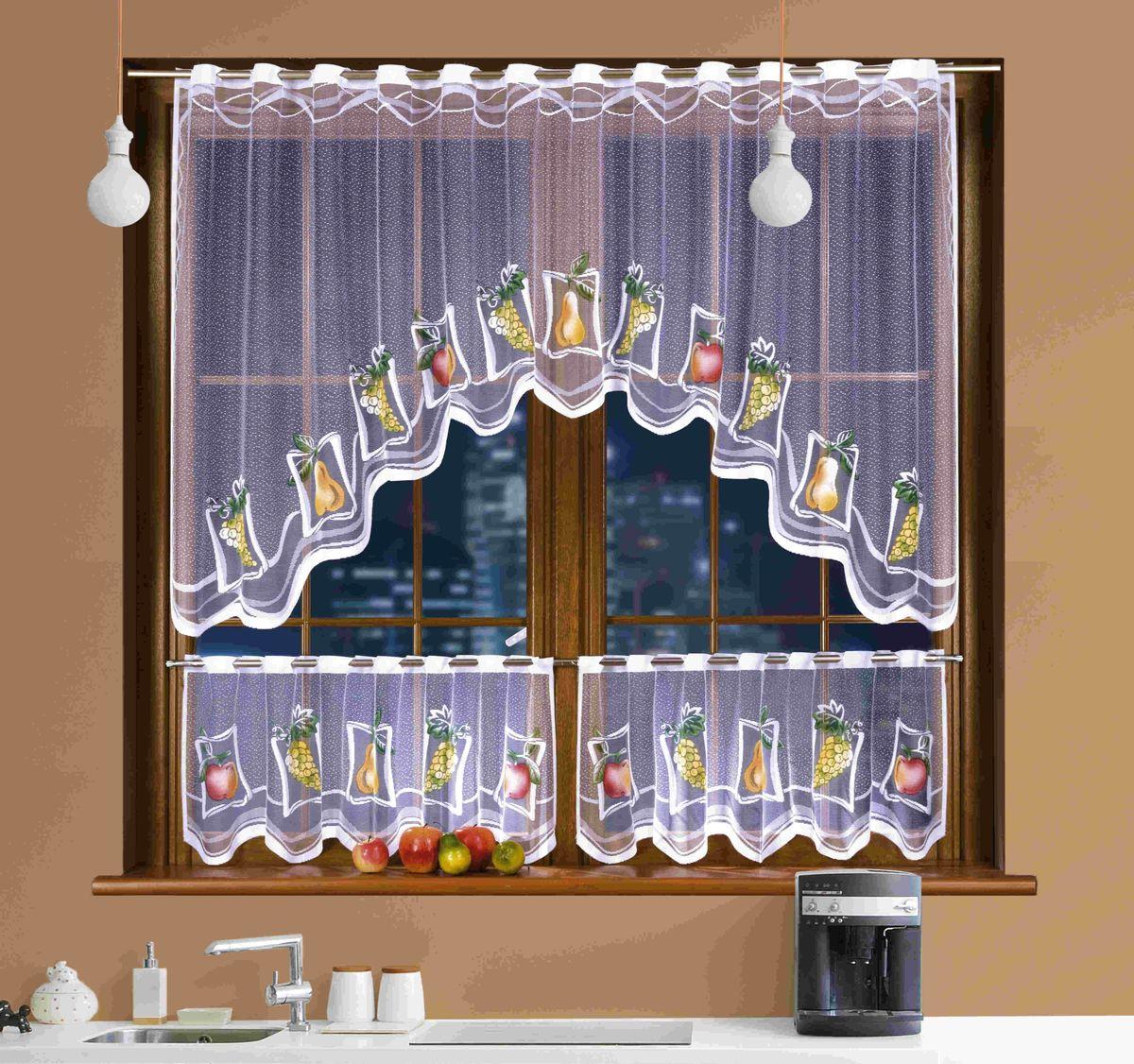 Комплект штор для кухни Wisan Martynika, на кулиске, цвет: белый, высота 250 см3340Комплект штор Wisan Martynika, выполненный из легкого полиэстера белого цвета, станет великолепным украшением кухонного окна. В набор входит шторка и два ламбрекена для нижних створок окна. Тонкое плетение и нежная цветовая гамма привлекут внимание и органично впишутся в интерьер кухни. Штора и ламбрекены оснащены кулиской для размещения на круглом карнизе. В комплект входит: Ламбрекен: 2 шт. Размер (Ш х В): 130 см х 45 см. Штора: 2 шт. Размер (Ш х В): 150 см х 240 см. Фирма Wisan на польском рынке существует уже более пятидесяти лет и является одной из лучших польских фабрик по производству штор и тканей. Ассортимент фирмы представлен готовыми комплектами штор для гостиной, детской, кухни, а также текстилем для кухни (скатерти, салфетки, дорожки, кухонные занавески). Модельный ряд отличает оригинальный дизайн, высокое качество. Ассортимент продукции постоянно пополняется.