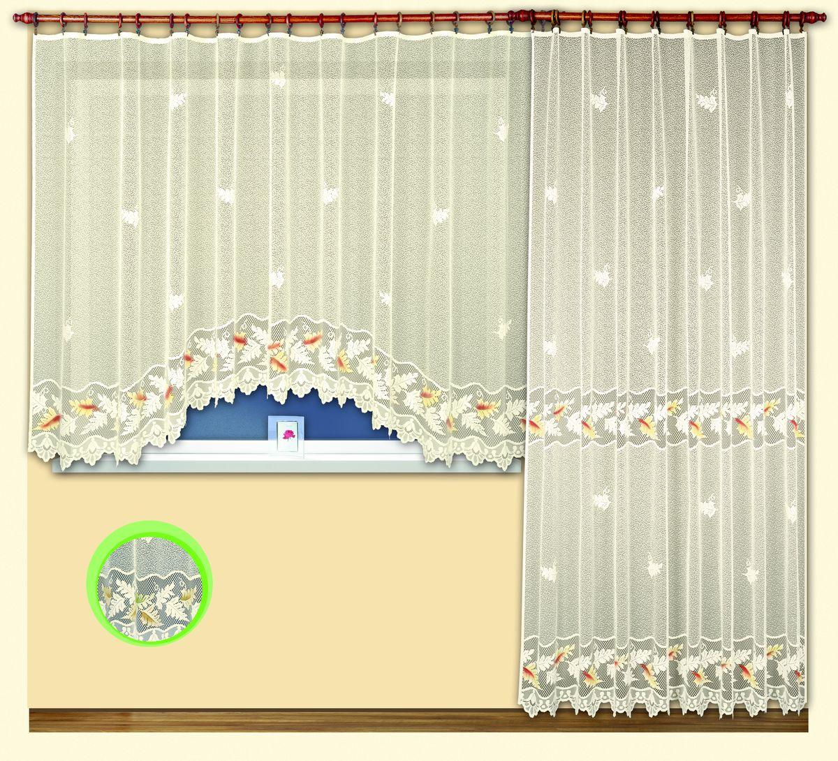 Комплект гардин для балконной двери Haft Magia Wzorow, на ленте, цвет: кремовый, высота 250 см. 3802238022Комплект гардин Haft Magia Wzorow изготовлен из полиэстера кремового цвета. В комплект входит короткая гардина для окна и длинная гардина для балконной двери. Тонкое плетение, оригинальный дизайн привлекут к себе внимание и органично впишутся в интерьер. Все элементы комплекта на шторной ленте для собирания в сборки. Комплект гардин Haft Magia Wzorow станет великолепным украшением балконного окна. К комплекту прилагается небольшая ажурная скатерть для журнального столика, выполненная из полиэстера кремового цвета в единой стилистике с гардинами. В комплект входит: Гардина для окна: 1 шт. Размер (Ш х В): 300 см х 160 см. Гардина для балконной двери: 1 шт. Размер (Ш х В): 200 см х 250 см. Скатерть: 1 шт. Размер: 99 см х 109 см. Главный ассортимент компании Haft - это тюль и занавески. Haft предлагает готовые решения для ваших окон, выпуская готовые наборы штор, которые остается только распаковать и повесить. Модельный ряд...