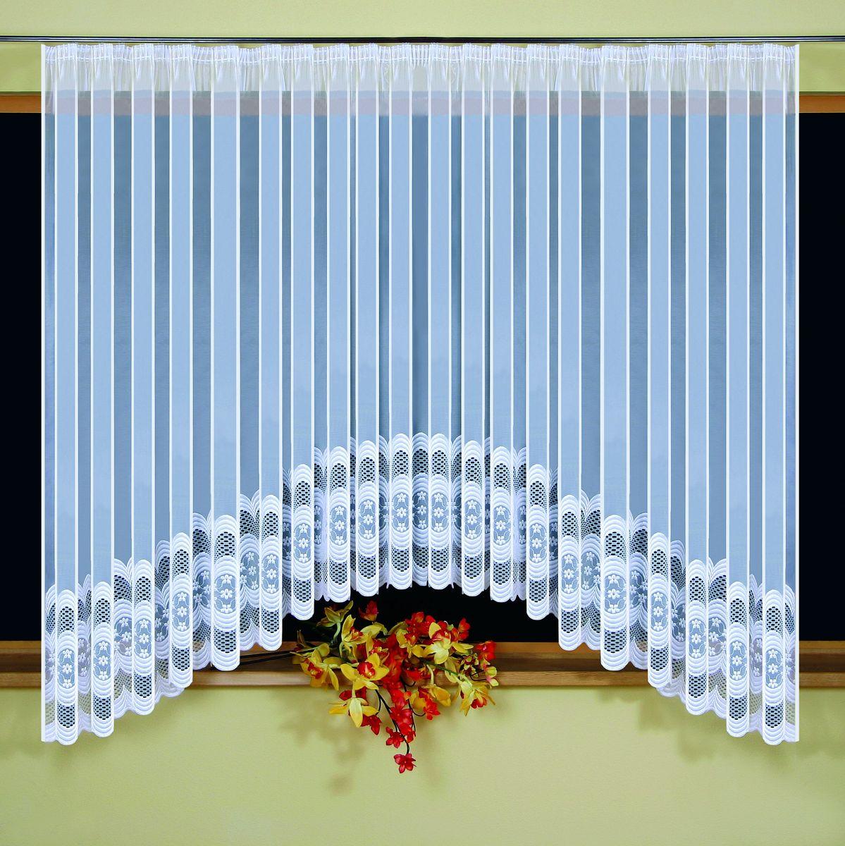 Гардина Wisan Monika, на ленте, цвет: белый, высота 160 см5296Гардина Wisan Monika изготовлена из белого полиэстера, легкой, тонкой ткани. Изделие украшено изящным орнаментом. Тонкое плетение и оригинальный дизайн привлекут к себе внимание и органично впишутся в интерьер комнаты. Оригинальное оформление гардины внесет разнообразие и подарит заряд положительного настроения. Гардина оснащена шторной лентой для крепления на карниз.