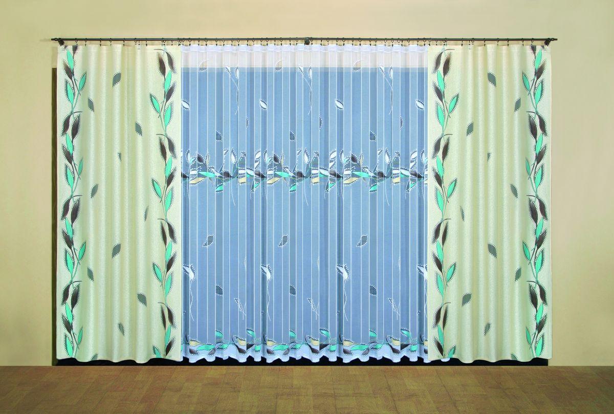 Комплект штор Wisan Leokadia, на ленте, цвет: бежевый, белый, бирюзовый, высота 250 см