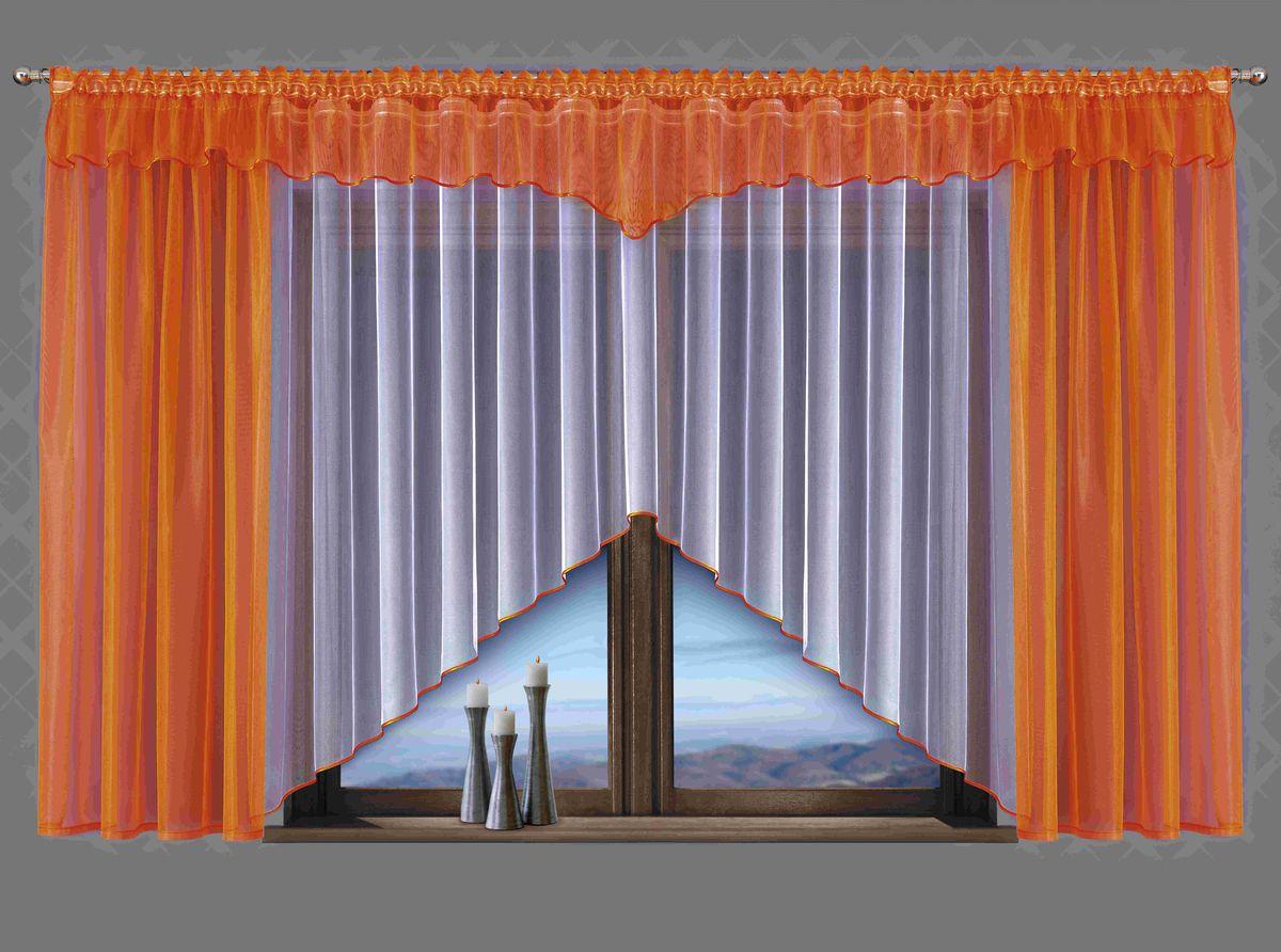 Комплект штор для кухни Wisan Celina, на ленте, цвет: белый, оранжевый, высота 180 см5483Комплект штор Wisan Celina выполненный из полиэстера, великолепно украсит кухонное окно. В комплект входят 2 шторы, тюль и ламбрекен. Оригинальный и яркий дизайн придает комплекту особый стиль и шарм. Тонкое плетение, нежная цветовая гамма и роскошное исполнение - все это делает шторы Wisan Celina замечательным дополнением интерьера помещения. Комплект оснащен шторной лентой для красивой сборки. В комплект входит: Штора - 2 шт. Размер (ШхВ): 150 см х 180 см. Тюль - 1 шт. Размер (ШхВ): 400 см х 180 см. Ламбрекен - 1 шт. Размер (ШхВ): 500 см х 50 см. Фирма Wisan на польском рынке существует уже более пятидесяти лет и является одной из лучших польских фабрик по производству штор и тканей. Ассортимент фирмы представлен готовыми комплектами штор для гостиной, детской, кухни, а также текстилем для кухни (скатерти, салфетки, дорожки, кухонные занавески). Модельный ряд отличает оригинальный дизайн, высокое качество. Ассортимент...