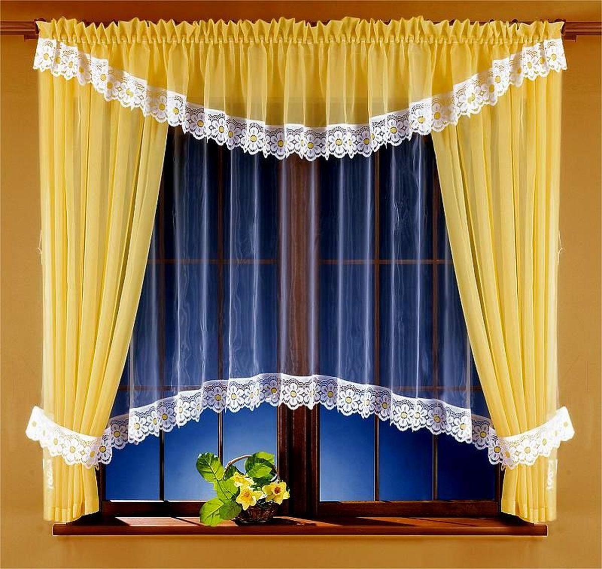 Комплект штор Wisan Ryta, на ленте, цвет: белый, желтый, высота 170 см5746Комплект штор Wisan Ryta выполненный из полиэстера, великолепно украсит любое окно. В комплект входят 2 шторы, тюль, ламбрекен и 2 подхвата. Оригинальный и яркий дизайн придают комплекту особый стиль и шарм. Качественный материал, нежная цветовая гамма и роскошное исполнение - все это делает шторы Wisan Ryta замечательным дополнением интерьера помещения. Комплект оснащен шторной лентой для красивой сборки. В комплект входит: Штора - 2 шт. Размер (ШхВ): 160 см х 170 см. Тюль - 1 шт. Размер (ШхВ): 360 см х 160 см. Ламбрекен - 1 шт. Размер (ШхВ): 400 см х 40 см. Подхват - 2 шт. Фирма Wisan на польском рынке существует уже более пятидесяти лет и является одной из лучших польских фабрик по производству штор и тканей. Ассортимент фирмы представлен готовыми комплектами штор для гостиной, детской, кухни, а также текстилем для кухни (скатерти, салфетки, дорожки, кухонные занавески). Модельный ряд отличает оригинальный...