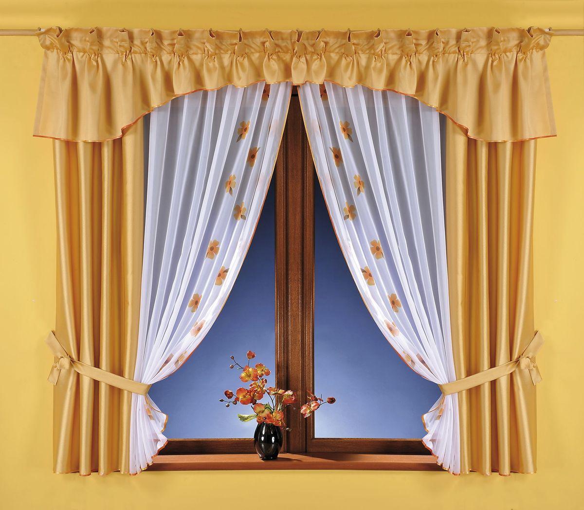 Комплект штор Wisan Swietlana, на ленте, цвет: золотистый, белый, высота 180 см5758Комплект штор Wisan Swietlana выполненный из полиэстера, великолепно украсит любое окно. Комплект состоит из 2 штор, тюля, ламбрекена и 2 подхватов. Тюль выполнен из органзы и украшен цветочным принтом, шторы изготовлены из плотного полиэстера. Оригинальный дизайн и контрастная цветовая гамма привлекут к себе внимание и органично впишутся в интерьер комнаты. Все предметы комплекта оснащены шторной лентой для красивой драпировки. В комплект входит: Штора - 2 шт. Размер (ШхВ): 80 см х 180 см. Тюль - 1 шт. Размер (ШхВ): 160 см х 180 см. Ламбрекен - 1 шт. Размер (ШхВ): 500 см х 50 см. Подхваты - 2 шт. Фирма Wisan на польском рынке существует уже более пятидесяти лет и является одной из лучших польских фабрик по производству штор и тканей. Ассортимент фирмы представлен готовыми комплектами штор для гостиной, детской, кухни, а также текстилем для кухни (скатерти, салфетки, дорожки, кухонные занавески). Модельный ряд отличает...