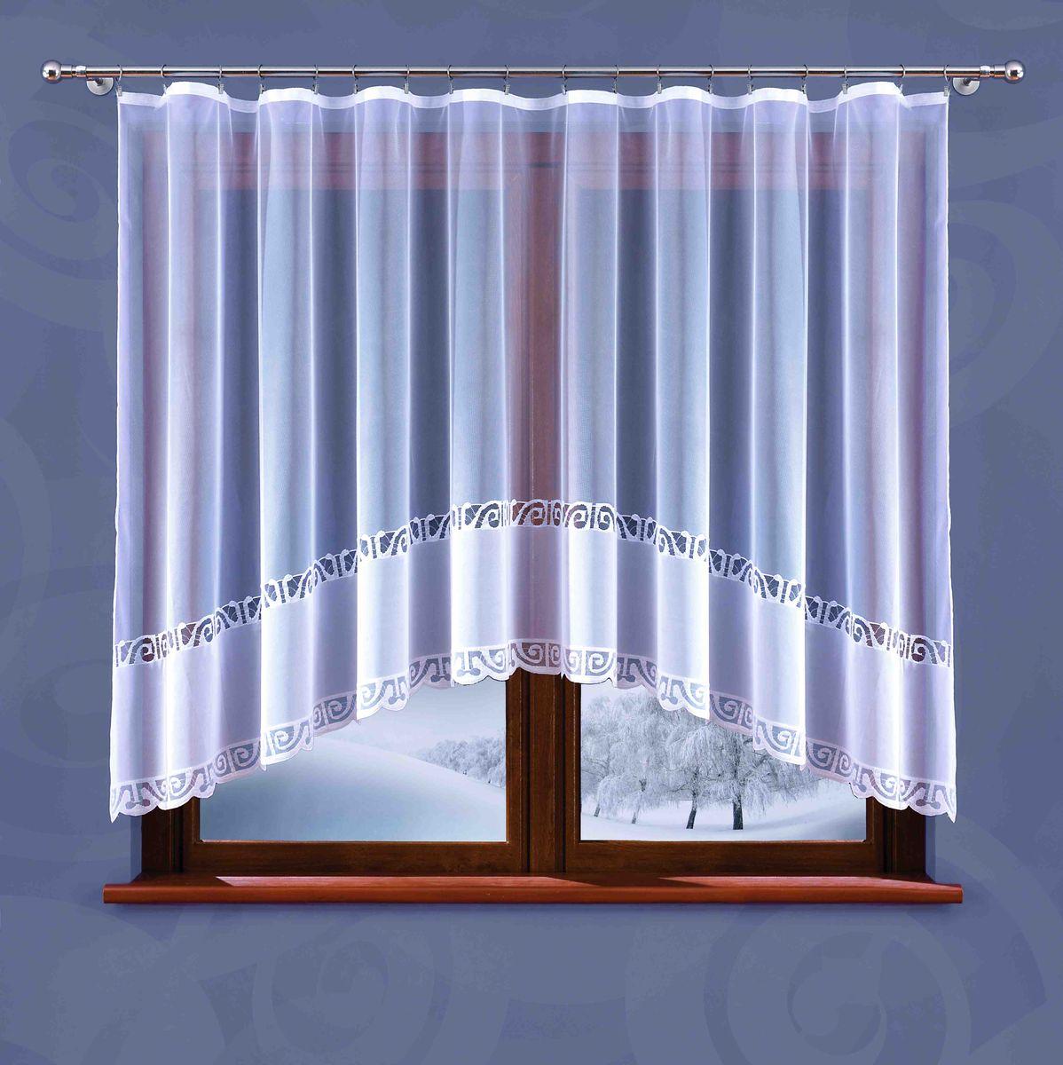 Гардина Wisan Weronika, на ленте, цвет: белый, высота 150 см5884Гардина Wisan Weronika, изготовлена из полиэстера, легкой, тонкой ткани. Изделие украшено орнаментом. Тонкое плетение и оригинальный дизайн привлекут к себе внимание и органично впишутся в интерьер комнаты. Оригинальное оформление гардины внесет разнообразие и подарит заряд положительного настроения. Гардина оснащена шторной лентой для крепления на карниз.