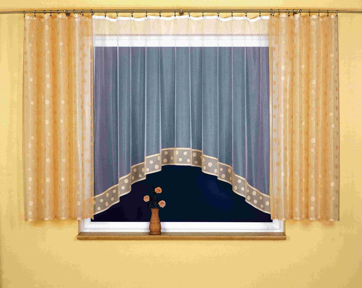 """Комплект штор для кухни Wisan """"Teresa"""", на ленте, цвет: белый, коричневый, высота 170 см"""