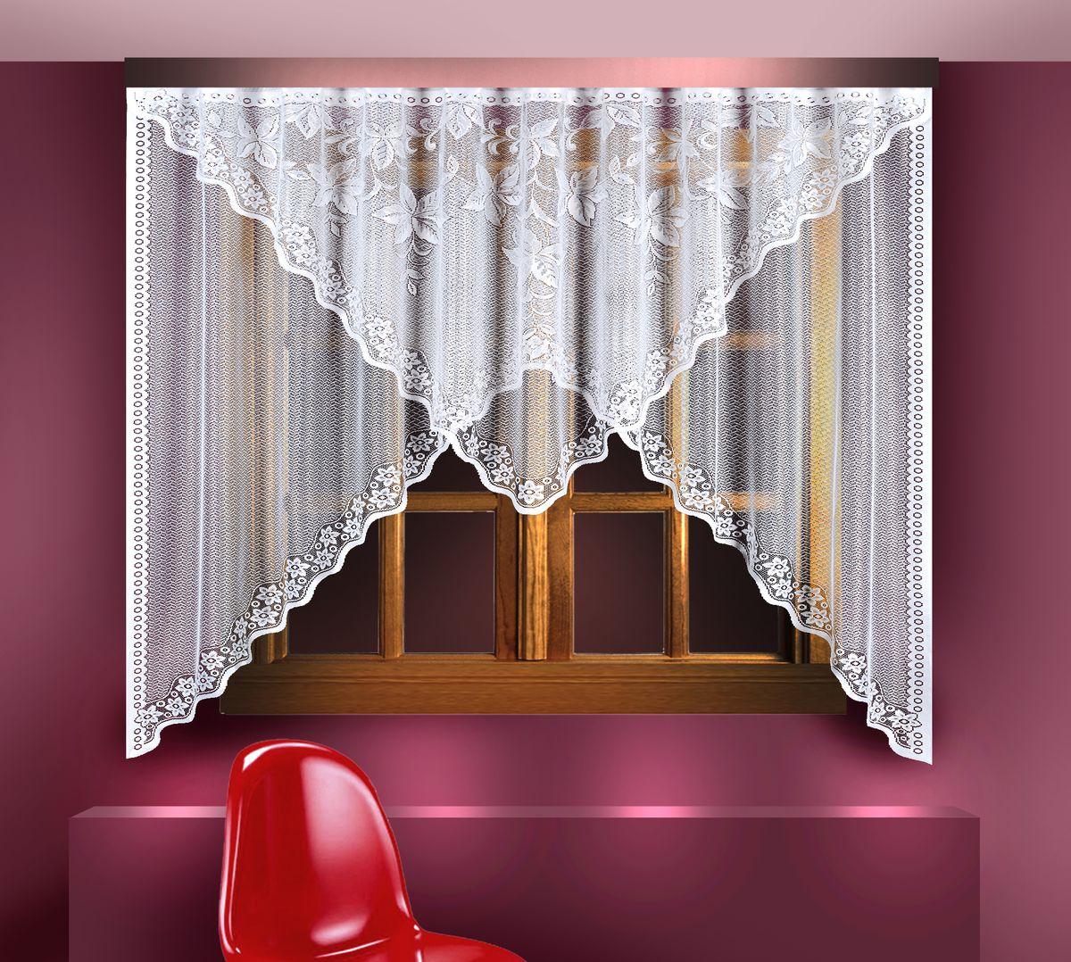 Гардина Zlata Korunka, цвет: белый, высота 180 см. 8881388813Воздушная гардина Zlata Korunka, изготовленная из полиэстера белого цвета, станет великолепным украшением любого окна. Гардина выполнена из сетчатого материала и декорирована цветочным орнаментом по краям. Вверху гардина оснащена ламбрекеном, выполненным в форме треугольника и украшенным цветочным рисунком. Тонкое плетение и оригинальный дизайн привлекут к себе внимание и органично впишутся в интерьер. Верхняя часть гардины не оснащена креплениями.