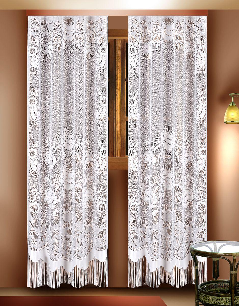 Комплект гардин Zlata Korunka, цвет: белый, высота 210 см. 8881888818Воздушные гардины Zlata Korunka, изготовленные из полиэстера белого цвета, станут великолепным украшением любого окна. Гардины выполнены из сетчатого материала, декорированы цветочным рисунком и украшены бахромой внизу. Тонкое плетение и оригинальный дизайн привлекут к себе внимание и органично впишутся в интерьер. Верхняя часть гардин не оснащена креплениями. Гардины - 2 шт. Размер: 110 см х 210 см.