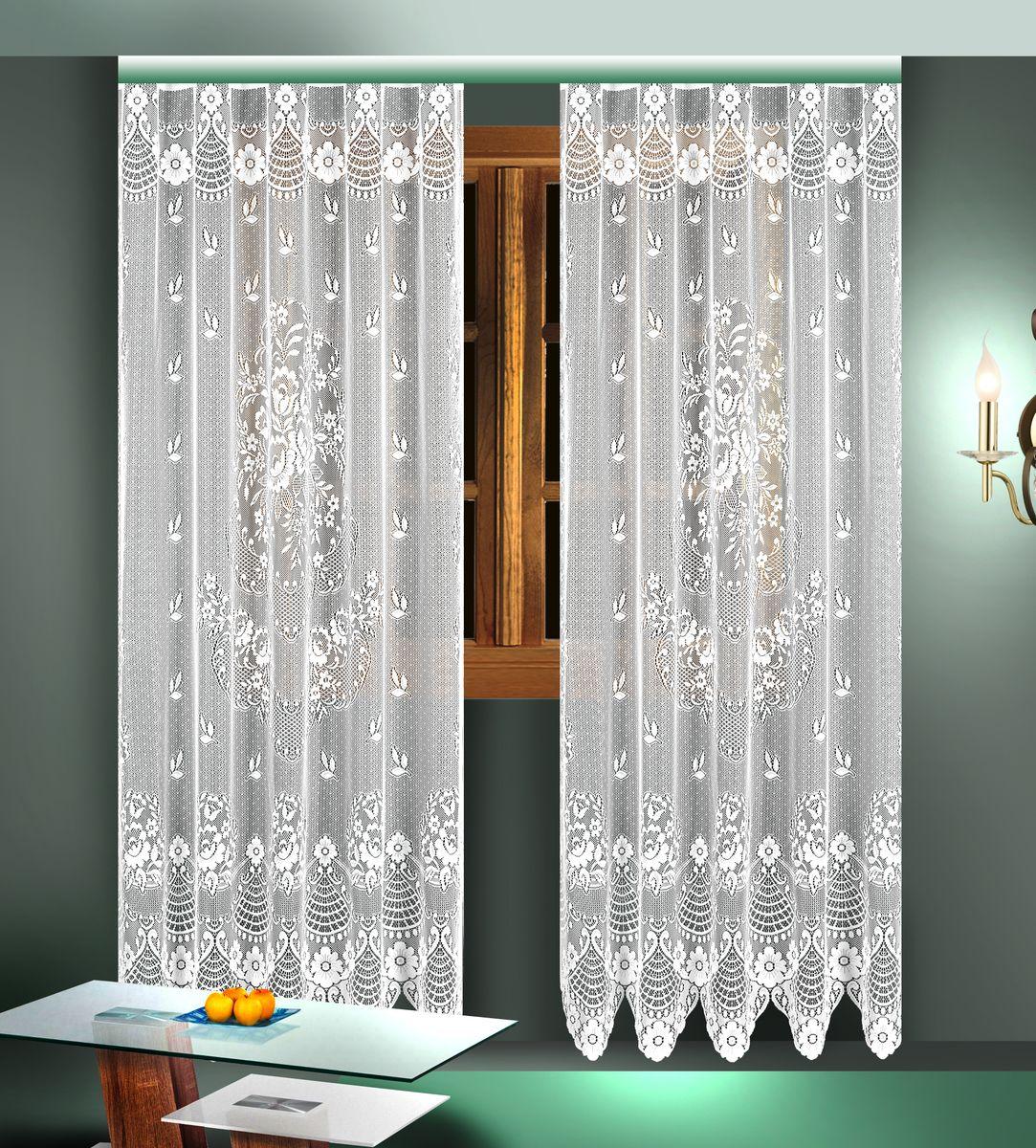 Комплект гардин Zlata Korunka, цвет: белый, высота 245 см. 8882488824Воздушные гардины Zlata Korunka, изготовленные из полиэстера белого цвета, станут великолепным украшением любого окна. Гардины выполнены из сетчатого материала и декорированы цветочным рисунком. Тонкое плетение и оригинальный дизайн привлекут к себе внимание и органично впишутся в интерьер. Верхняя часть гардин не оснащена креплениями. В комплект входит: Гардина - 2 шт. Размер (Ш х В): 165 см х 245 см.