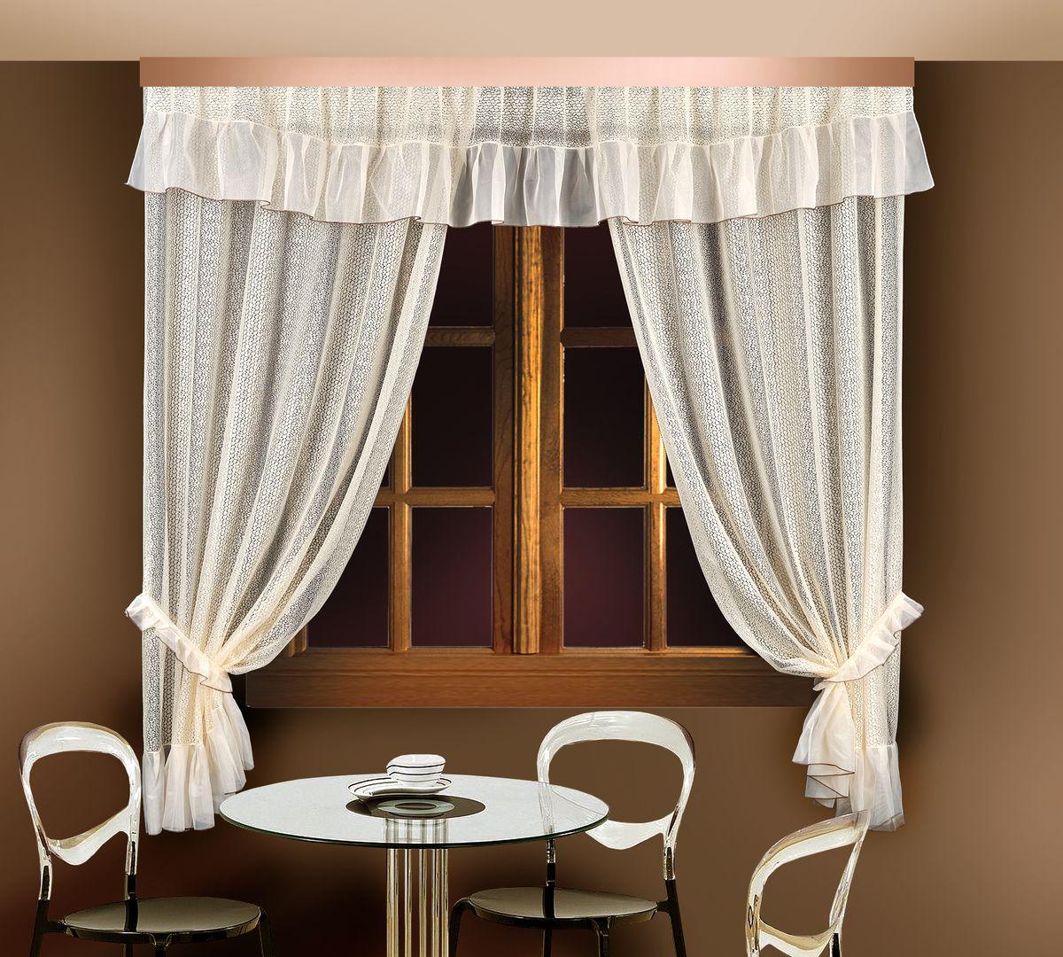 """Комплект штор для кухни """"Zlata Korunka"""", цвет: кремовый, высота 250 см. 88835"""