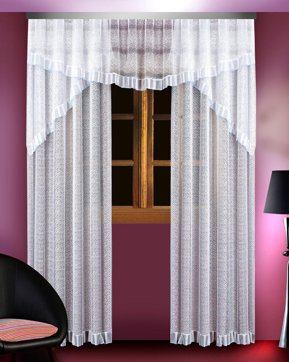 Комплект штор для кухни Zlata Korunka, цвет: белый, высота 250 см. 8883788837Комплект штор Zlata Korunka, изготовленный из полиэстера белого цвета, присутствует голубая каемка в верхней части. Комплект выполнен из тонкого сетчатого материала. В комплект входят 2 шторы и ламбрекен. Тонкое плетение и оригинальный дизайн привлекут к себе внимание и органично впишутся в интерьер. Верхняя часть комплекта не оснащена креплениями. В комплект входит: Ламбрекен: 1 шт. Размер (Ш х В): 300 см х 55 см. Штора: 2 шт. Размер (Ш х В): 150 см х 250 см.