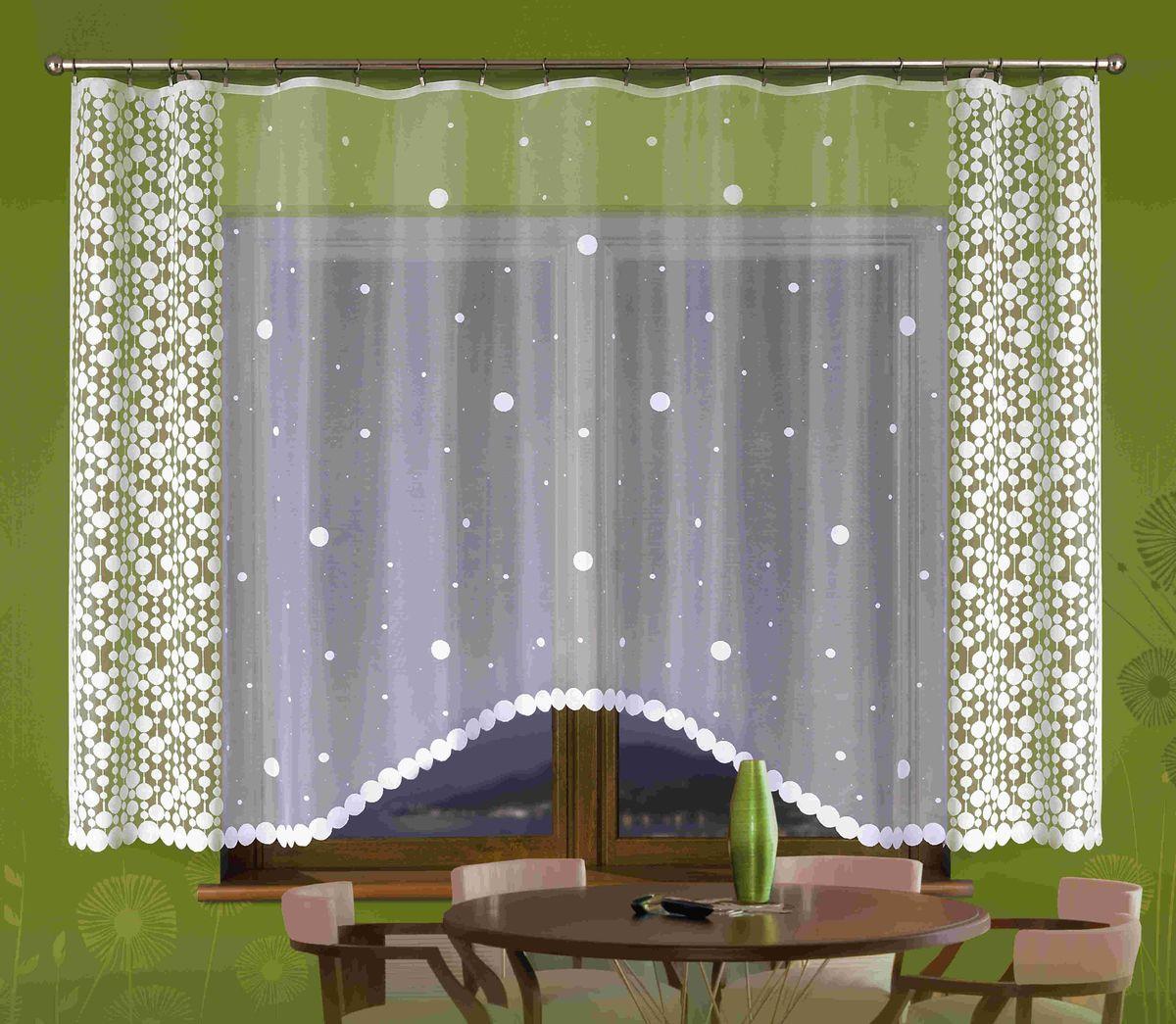 Гардина Wisan Halka, цвет: белый, высота 180 смE129Воздушная гардина Wisan Halka, изготовленная из полиэстера, станет великолепным украшением любого окна. Изделие, оформленное принтом в горох, привлечет к себе внимание и органично впишется в интерьер комнаты. Оригинальное оформление гардины внесет разнообразие и подарит заряд положительного настроения. Верхняя часть гардины не оснащена креплениями.