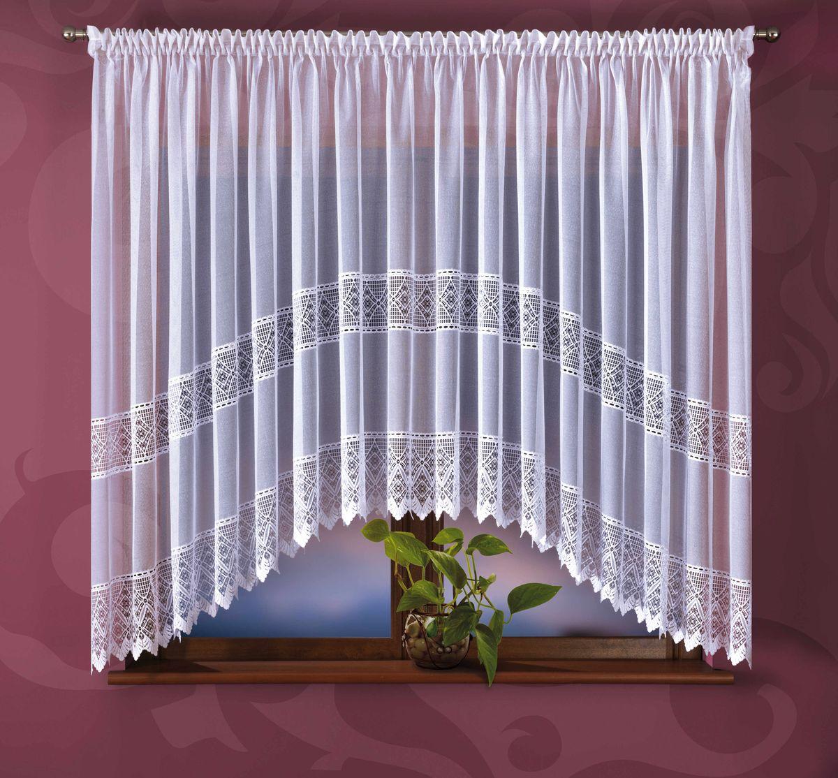 Гардина Wisan Areta, на ленте, цвет: белый, высота 180 смE355Воздушная гардина Wisan Areta, изготовленная из полиэстера, станет великолепным украшением любого окна. Изделие оформлено оригинальным орнаментом, который привлечет к себе внимание и органично впишется в интерьер комнаты. Оригинальное оформление гардины внесет разнообразие и подарит заряд положительного настроения. Гардина оснащена шторной лентой для крепления на карниз.