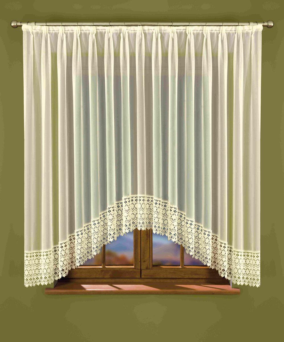 Гардина Wisan Isaura, на ленте, цвет: слоновая кость, высота 160 смW039Гардина Wisan Isaura, изготовлена из полиэстера, легкой, тонкой ткани. Нижняя часть гардины оформлена ажурным орнаментом. Тонкое плетение и оригинальный дизайн привлекут к себе внимание и органично впишутся в интерьер комнаты. Оригинальное оформление гардины внесет разнообразие и подарит заряд положительного настроения. Гардина оснащена шторной лентой для крепления на карниз.