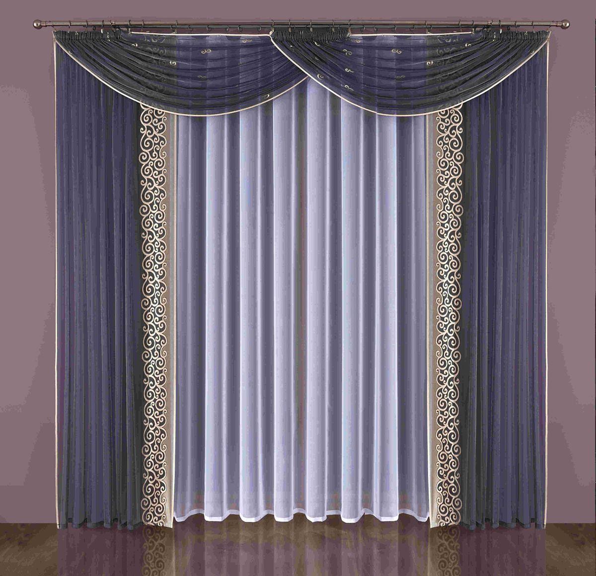 Комплект штор Wisan Brenda, на ленте, цвет: синий, белый, высота 240 смW349Комплект штор Wisan Brenda выполненный из полиэстера, великолепно украсит любое окно. Комплект состоит из 2 штор, тюля и 2 ламбрекенов. Тюль выполнен из органзы, шторы изготовлены из полиэстера тонкого жаккардового плетения. Оригинальный дизайн и контрастная цветовая гамма привлекут к себе внимание и органично впишутся в интерьер комнаты. Все предметы комплекта оснащены шторной лентой для красивой драпировки. В комплект входит: Штора - 2 шт. Размер (ШхВ): 150 см х 240 см. Тюль - 1 шт. Размер (ШхВ): 400 см х 240 см. Ламбрекен - 2 шт. Размер (ШхВ): 180 см х 140 см. Фирма Wisan на польском рынке существует уже более пятидесяти лет и является одной из лучших польских фабрик по производству штор и тканей. Ассортимент фирмы представлен готовыми комплектами штор для гостиной, детской, кухни, а также текстилем для кухни (скатерти, салфетки, дорожки, кухонные занавески). Модельный ряд отличает оригинальный дизайн, высокое...
