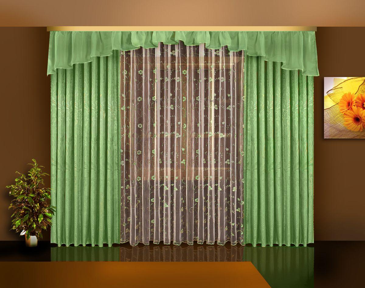 Комплект штор Zlata Korunka, на ленте, цвет: зеленый, высота 250 см. Б113Б113 зеленыйКомплект штор Zlata Korunka великолепно украсит любое окно. Комплект состоит из двух портьер, тюля и ламбрекена. Тюль выполнен из органзы и украшен цветочной вышивкой, ламбрекен выполнен из вуалевой ткани, портьеры изготовлены из жаккардовой ткани с изящным узором. Оригинальный дизайн и контрастная цветовая гамма привлекут к себе внимание и органично впишутся в интерьер комнаты. Все предметы комплекта оснащены шторной лентой для красивой драпировки. В комплект входит: Ламбрекен: 1 шт. Размер (ШхВ): 450 см х 45 см. Тюль: 1 шт. Размер (ШхВ): 350 см х 250 см. Штора: 2 шт. Размер (ШхВ): 140 см х 250 см.