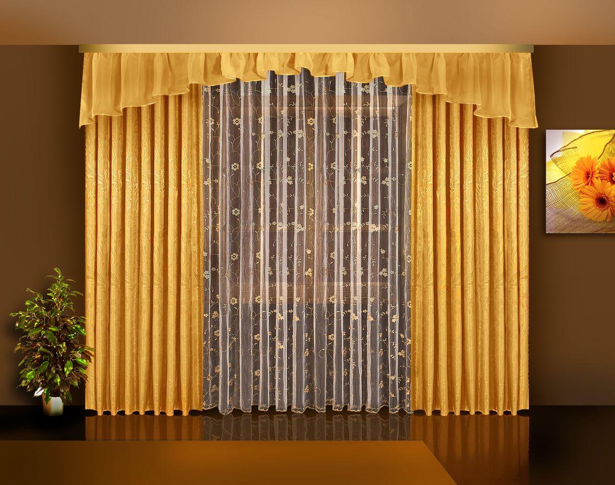 Комплект штор Zlata Korunka, на ленте, цвет: золотой, высота 250 см. Б113Б113 золотоКомплект штор Zlata Korunka великолепно украсит любое окно. Комплект состоит из двух портьер, тюля и ламбрекена. Тюль выполнен из органзы и украшен цветочной вышивкой, ламбрекен выполнен из вуалевой ткани, портьеры изготовлены из жаккардовой ткани с изящным узором. Оригинальный дизайн и контрастная цветовая гамма привлекут к себе внимание и органично впишутся в интерьер комнаты. Все предметы комплекта оснащены шторной лентой для красивой драпировки. В комплект входит: Ламбрекен: 1 шт. Размер (Ш х В): 450 см х 45 см. Тюль: 1 шт. Размер (Ш х В): 350 см х 250 см. Штора: 2 шт. Размер (Ш х В): 140 см х 250 см.