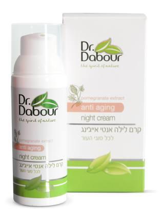 Dr. Dabour Крем для лица ночной, антивозрастной, 50 мл7290014739055Питательный крем, обогащенный активными ингредиентами для борьбы с возрастными изменениями и предупреждения признаков старения кожи. Способствуют восстановлению клеток кожи в течение ночи. Разглаживает мимические морщины и уменьшает их глубину. Смягчает, восстанавливает эластичность кожи, стимулирует обновление клеток кожи, обеспечивая свежий и ухоженный вид утром. Содержит специальные аминокислоты, витамины, антиоксиданты, экстракты растений и натуральных масел которые усиливают процесс обновления в ночные часы. Увлажняет, защищает, смягчает, улучшает упругость и эластичность. Крем парфюмирован природными ароматами, быстро впитывается. Подходит для всех типов кожи.