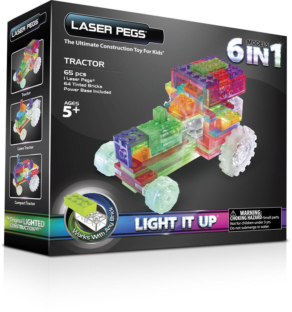 Laser Pegs Конструктор Трактор 6 в 1ZD120BЯркий конструктор Laser Pegs Трактор непременно понравится вашему малышу и не позволит ему скучать. С помощью такого конструктора малыш сможет собрать 6 разных моделей тракторов, руководствуясь инструкцией или полагаясь на свою фантазию. Конструктор выполнен из прочного пластика и включает в себя 64 элемента конструктора, 1 элемент со светодиодами, мобильный источник питания и подробную инструкцию на русском языке. Все элементы конструктора имеют яркие цвета и безопасны для малыша. У игрушки есть два режима свечения: обычный и мигающий. Ребенок сможет часами играть с этим конструктором, придумывая разные истории и комбинируя детали. Из разноцветных элементов разных форм и размеров, деталей со встроенными светодиодами ребенок создаст фигурки тракторов. При выключенном свете модели из этого конструктора выглядит особенно эффектно, фигурку можно использовать как ночник! Игры с конструкторами помогут ребенку развить воображение, внимательность, зрительное...