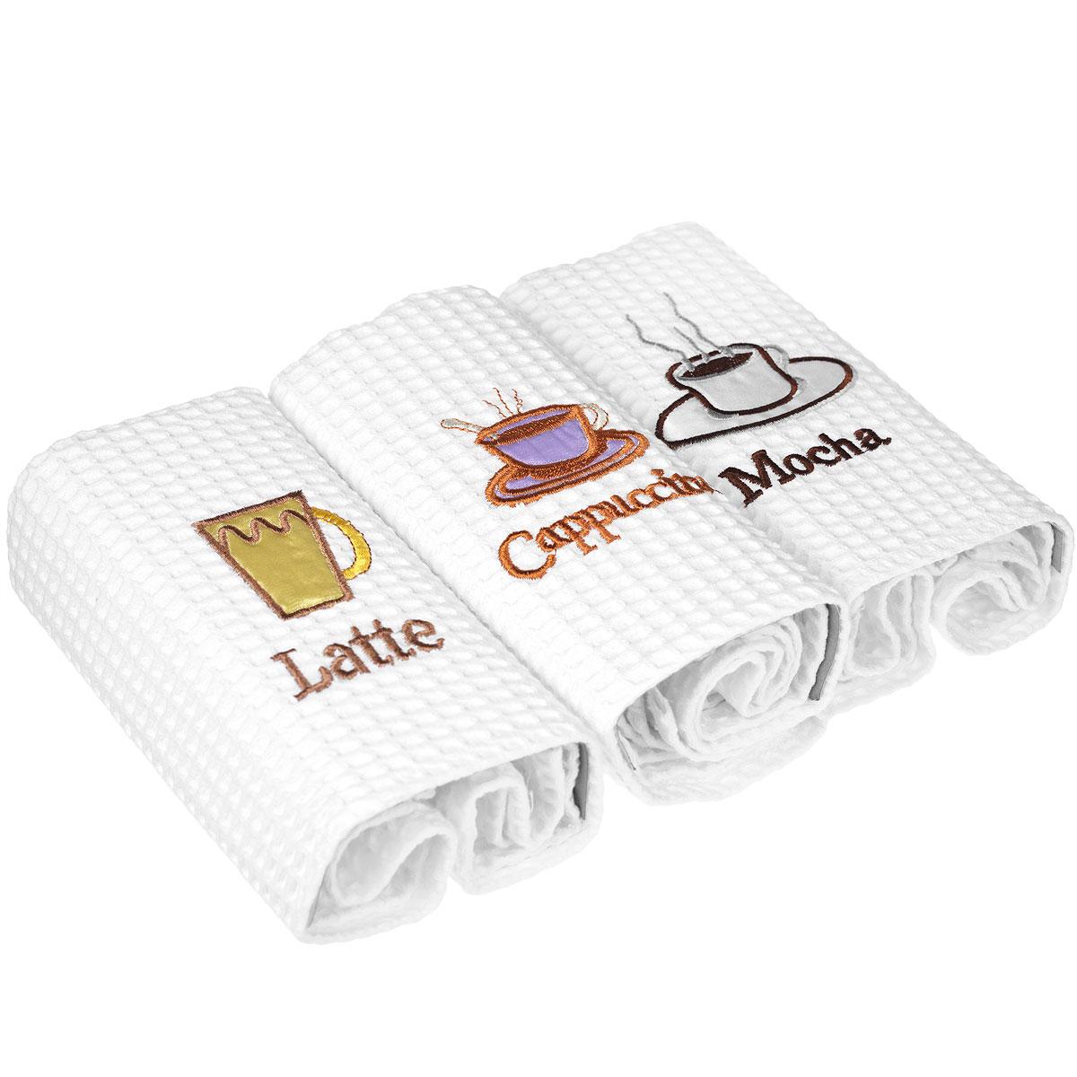 Набор кухонных полотенец Happy Bear Coffee, цвет: белый, 48 см х 70 см, 3 шт50044_whiteНабор Happy Bear Coffee состоит из трех вафельных кухонных полотенец белого цвета. Полотенца выполнены из натурального хлопка и декорированы вышивкой в виде чашек с кофе. Такие полотенца прекрасно впитывают влагу, быстро сохнут и легко стираются, не теряя своих свойств даже после многократных стирок. Они износоустойчивые, прочные и практичные. Набор полотенец Happy Bear Coffee создаст атмосферу уюта и комфорта на вашей кухне. Рекомендации по уходу: - стирать при температуре 40-50°С, - не следует стирать вместе с изделиями из полиэстера или другого синтетического материала, - не рекомендуется использование отбеливателя, - сушить в деликатном режиме.