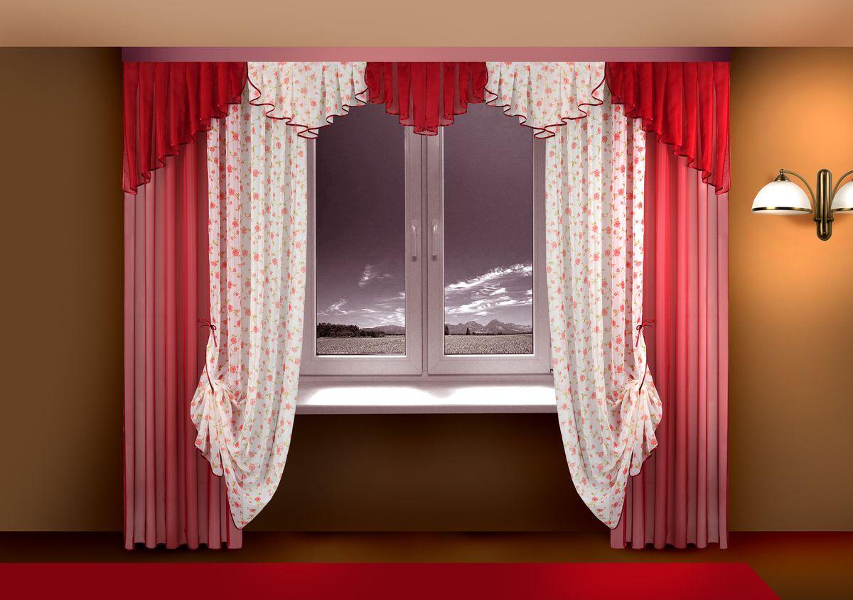 Комплект штор Zlata Korunka, на ленте, цвет: красный, высота 250 см. Б115Б115 бордоКомплект штор Zlata Korunka великолепно украсит любое окно. Комплект состоит из штор, тюля и ламбрекена. Для более изящного расположения штор предусмотрены подхваты. Комплект выполнен из нежной вуалевой ткани с изящным рисунком. Оригинальный дизайн и контрастная цветовая гамма привлекут к себе внимание и органично впишутся в интерьер комнаты. Все предметы комплекта оснащены шторной лентой для красивой в сборки. В комплект входит: Ламбрекен: 1 шт. Размер (Ш х В): 300 см х 50 см. Штора: 2 шт. Размер (Ш х В): 140 см х 250 см. Тюль: 2 шт. Размер (Ш х В): 140 см х 250 см. Подхват: 2 шт.