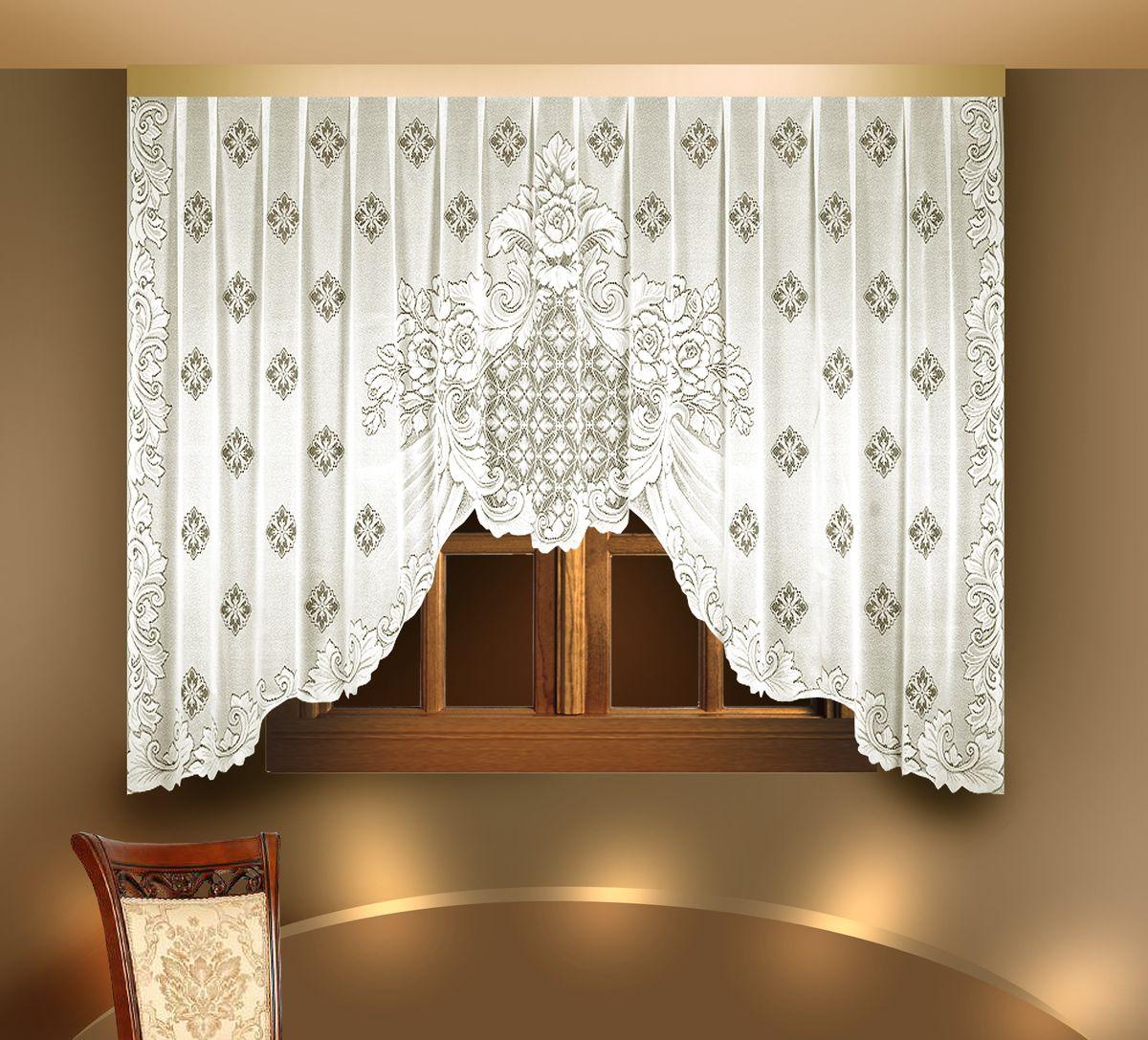 Гардина Zlata Korunka, цвет: белый, высота 175 см. 8880388803Воздушная гардина Zlata Korunka, изготовленная из полиэстера белого цвета, станет великолепным украшением любого окна. Гардина выполнена из сетчатого материала в виде арки и декорирована цветочным узором. По краям изделие оформлено цветочным орнаментом. Тонкое плетение и оригинальный дизайн привлекут к себе внимание и органично впишутся в интерьер. Верхняя часть гардины не оснащена креплениями.