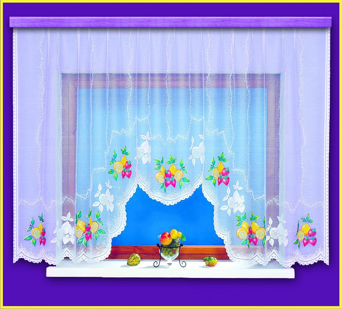 Гардина для кухни Haft Ozdoba Kuchni, цвет: белый, высота 160 см. 99220/16099220/160Воздушная гардина Haft Ozdoba Kuchni, изготовленная из полиэстера белого цвета, станет великолепным украшением любого окна. Оригинальный фруктовый рисунок, украшающий нижний край гардины, и нежная ажурная фактура материала привлекут к себе внимание и органично впишутся в интерьер комнаты. В гардину вшита шторная лента. Размер гардины: 160 см х 300 см. Текстильная компания Haft имеет богатую историю. Основанная в 1878 году в Польше, эта фирма зарекомендовала себя в качестве одного из лидеров текстильной промышленности в Европе. Еще в начале XX века фабрика Haft производила 90% всех текстильных изделий в своей стране, с годами производство расширялось, накопленный опыт позволял наиболее выгодно использовать развивающиеся технологии. Главный ассортимент компании - это тюль и занавески. Haft предлагает готовые решения для ваших окон, выпуская готовые наборы штор, которые остается только распаковать и повесить. Модельный ряд отличает оригинальный дизайн, высокое...