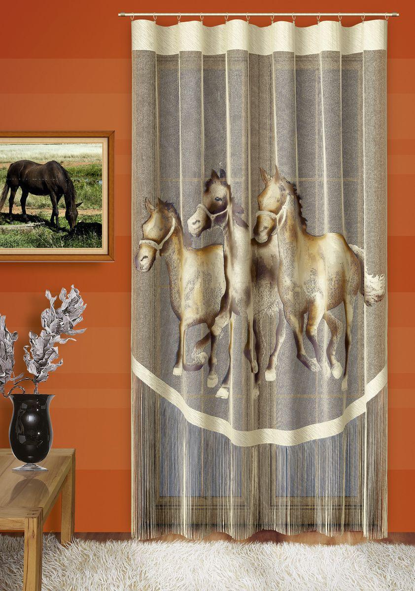 Гардина-панно Wisan Лошади, на ленте, цвет: кремовый, высота 250 см711АВоздушная гардина-панно Wisan Лошади, изготовленная из полиэстера, станет великолепным украшением любого окна. Изделие оформлено изображением лошадей и бахромой. Оригинальное оформление и приятная цветовая гамма изделия привлекут к себе внимание и органично впишутся в интерьер комнаты. Гардина-панно оснащено шторной лентой для крепления на карниз.