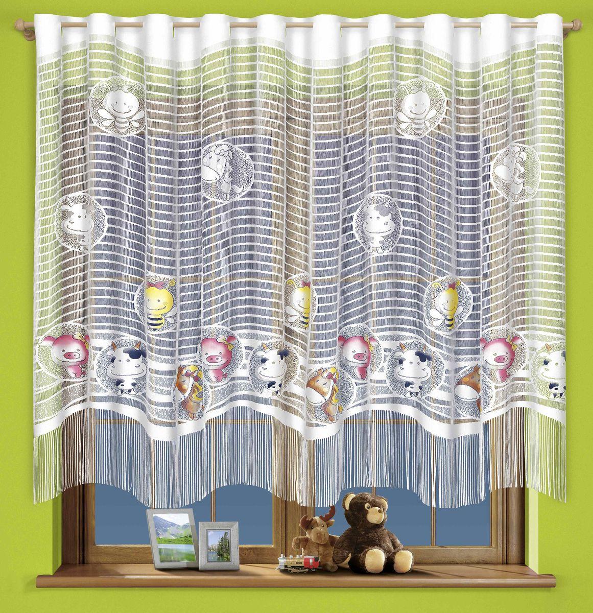 Гардина Wisan Zwierzaki, на петлях, цвет: белый, высота 160 см710АГардина Wisan Zwierzaki изготовлена из белого полиэстера, легкой, тонкой ткани. Изделие выполнено из бахромы, с забавными вставками зверушек. Тонкое плетение, оригинальный дизайн и приятная цветовая гамма привлекут к себе внимание и органично впишутся в интерьер кухни. Оригинальное оформление гардины внесет разнообразие и подарит заряд положительного настроения. Верхняя часть гардины оснащена петлями для круглого карниза.