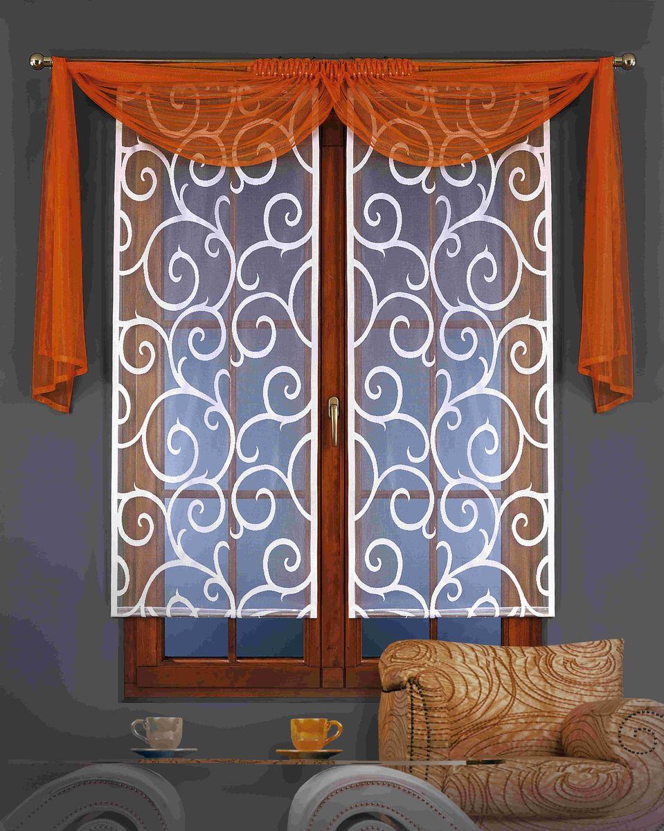 Гардина-панно Wisan Kamila, с ламбрекеном, на ленте, цвет: белый, оранжевый, высота 150 см, 3 предмета5880 оранжеваяВоздушная гардина-панно Wisan Kamila, изготовленная из полиэстера, станет великолепным украшением любого окна. Гардина состоит из двух частей, украшенных изящными узорами. Также в комплект входит ламбрекен. Оригинальное оформление и приятная цветовая гамма изделия привлекут к себе внимание и органично впишутся в интерьер комнаты. Изделия оснащены шторной лентой для крепления на карниз. Размер гардины-панно: 60 см х 150 см. Размер ламбрекена: 70 см х 120 см.
