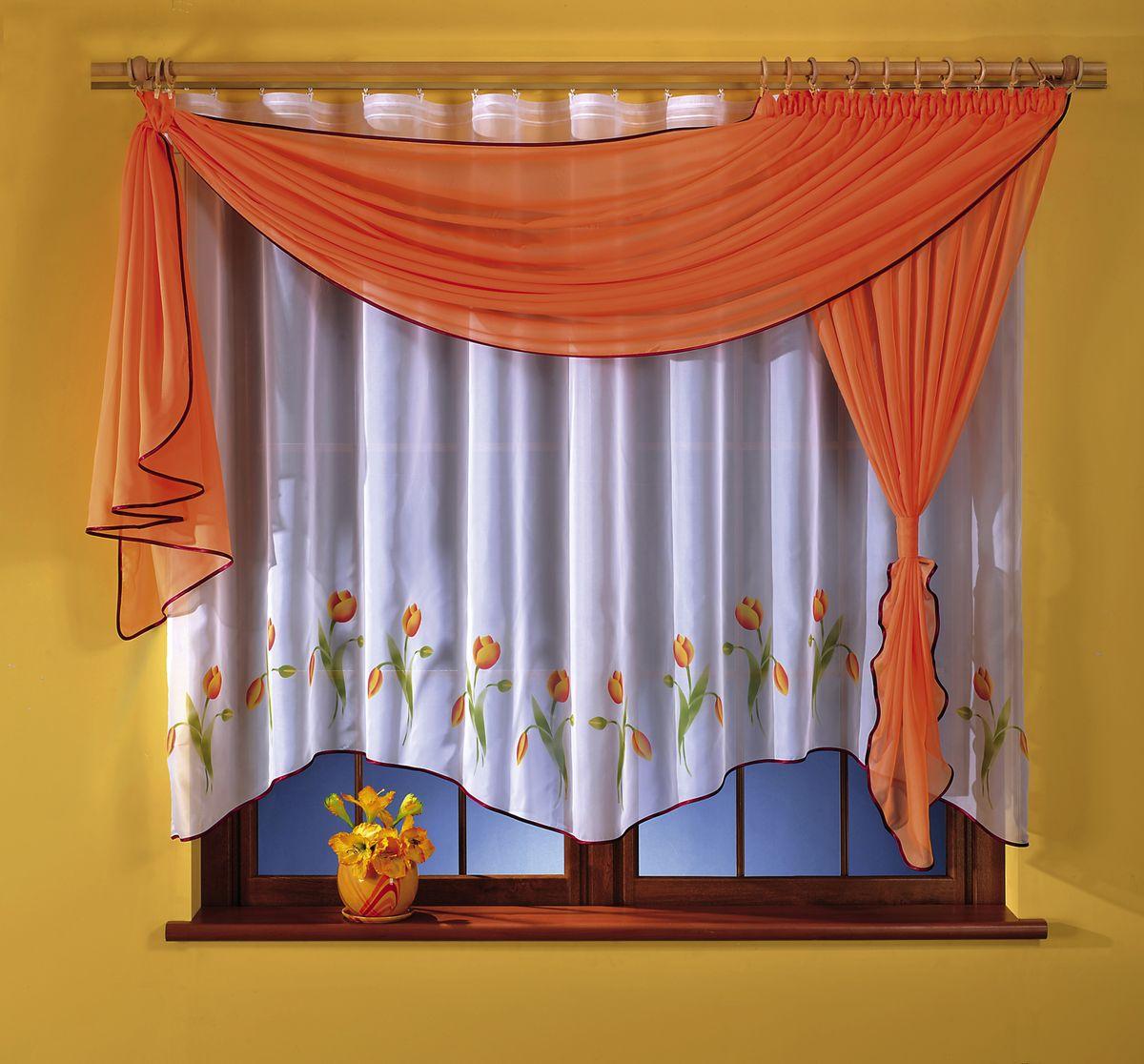 Комплект штор для кухни Wisan Marzenka, на ленте, цвет: белый, оранжевый, высота 180 см5764 оранжевыйКомплект штор для кухни Wisan Marzenka выполненный из полиэстера, великолепно украсит любое окно. В комплект входят тюль, ламбрекен и 2 подвяза. Оригинальный и яркий дизайн придают комплекту особый стиль и шарм. Качественный материал, нежная цветовая гамма и роскошное исполнение - все это делает шторы Wisan Marzenka замечательным дополнением интерьера помещения. Комплект оснащен шторной лентой для красивой сборки. В комплект входит: Тюль - 1 шт. Размер (ШхВ): 160 см х 170 см. Ламбрекен - 1 шт. Размер (ШхВ): 50 см х 180 см. Подвяз - 2 шт. Фирма Wisan на польском рынке существует уже более пятидесяти лет и является одной из лучших польских фабрик по производству штор и тканей. Ассортимент фирмы представлен готовыми комплектами штор для гостиной, детской, кухни, а также текстилем для кухни (скатерти, салфетки, дорожки, кухонные занавески). Модельный ряд отличает оригинальный дизайн, высокое качество. Ассортимент...