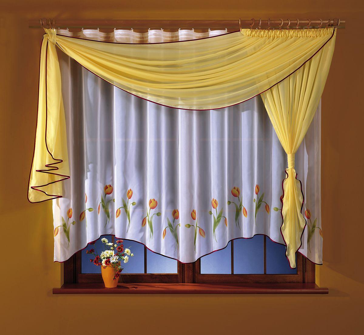 Комплект штор для кухни Wisan Marzenka, на ленте, цвет: белый, желтый, высота 180 см5764 желтаяКомплект штор для кухни Wisan Marzenka выполненный из полиэстера, великолепно украсит любое окно. В комплект входят тюль, ламбрекен и 2 подвяза. Оригинальный и яркий дизайн придают комплекту особый стиль и шарм. Качественный материал, нежная цветовая гамма и роскошное исполнение - все это делает шторы Wisan Marzenka замечательным дополнением интерьера помещения. Комплект оснащен шторной лентой для красивой сборки. В комплект входит: Тюль - 1 шт. Размер (ШхВ): 160 см х 170 см. Ламбрекен - 1 шт. Размер (ШхВ): 50 см х 180 см. Подвяз - 2 шт. Фирма Wisan на польском рынке существует уже более пятидесяти лет и является одной из лучших польских фабрик по производству штор и тканей. Ассортимент фирмы представлен готовыми комплектами штор для гостиной, детской, кухни, а также текстилем для кухни (скатерти, салфетки, дорожки, кухонные занавески). Модельный ряд отличает оригинальный дизайн, высокое качество. Ассортимент...