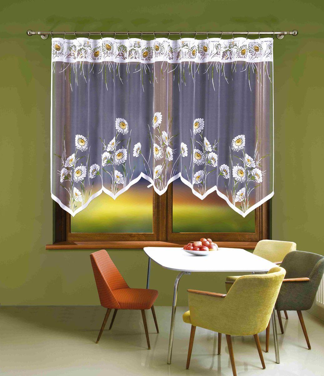 Гардина Wisan Klementynka, цвет: белый, зеленый, высота 140 см538АВоздушная гардина Wisan Klementynka, изготовленная из полиэстера, станет великолепным украшением любого окна. Оригинальный принт в виде цветочков и приятная цветовая гамма привлекут к себе внимание и органично впишутся в интерьер комнаты. Оригинальное оформление гардины внесет разнообразие и подарит заряд положительного настроения. Верхняя часть гардины не оснащена креплениями.
