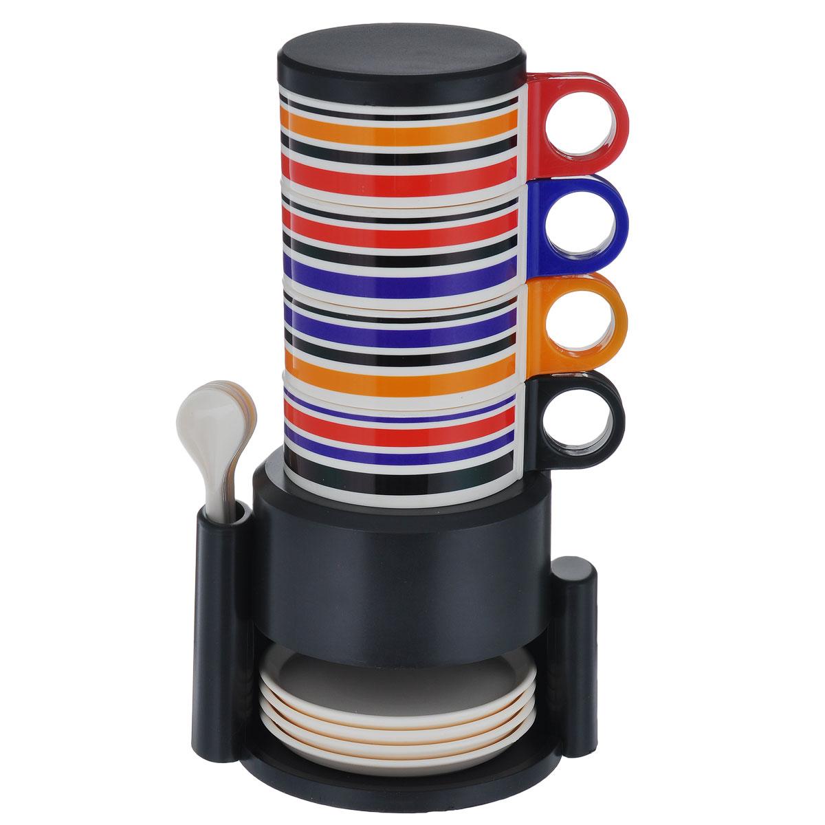 Набор посуды Bradex Чаепитие, 14 предметовTK 0125Вечерами приятно посидеть с чашечкой чая или кофе в компании друзей. Набор посуды Bradex Чаепитие подойдет для тесной компании из четырех человек. Чашки вместе с блюдцами и очаровательными ложечками удобно хранить в специальной подставке, которая не занимает много места на кухне. Состав набора: 4 чашки, 4 блюдца, 4 ложки, крышка, подставка. Высота кружек: 8,5 см. Диаметр кружек по верхнему краю: 8,5 см. Диаметр кружек по дну: 6,3 см. Диаметр крышки: 8,5 см. Длина ложек: 12,2 см. Диаметр блюдец: 9,9 см. Высота блюдец: 1 см. Размер подставки: 12 см х 14,8 см х 10,5.