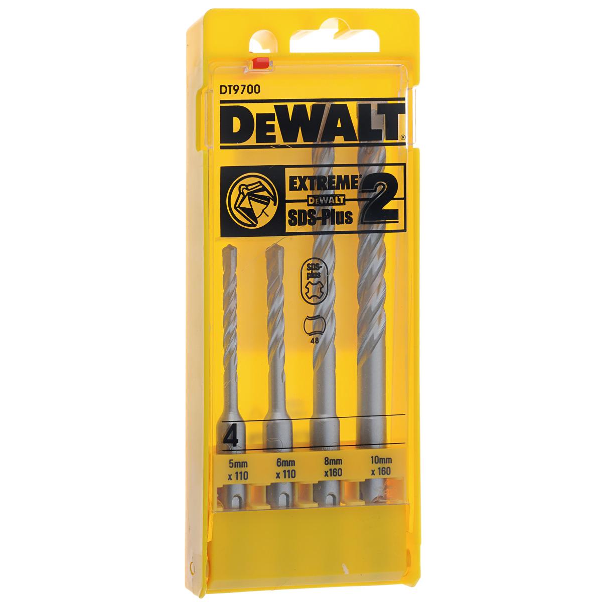 Набор буров DeWalt DT 9700, 4 предметаDT 9700Набор буров DeWalt DT 9700 используются для просверливания отверстий в твердом материале (бетонная стена, кирпичная кладка и т.д.). Канавки особой формы эффективно отводят шлам во время работы. Сердечник закален, что увеличивает прочность и надежность бура. В набор входят 4 бура разных диаметров: 2 бура длиной 110 мм и диаметром 5 и 6 мм, 2 бура длиной 160 мм и диаметром 8 мм и 10 мм.