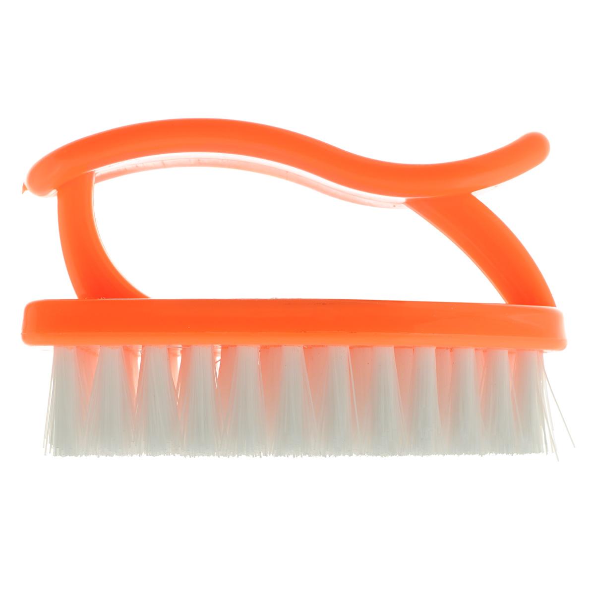 Щетка Home Queen Утюг, универсальная, цвет: оранжевый. 8989Щетка Home Queen Утюг, выполненная из полипропилена, является универсальной щеткой для очистки поверхностей ванной комнаты и кухни. Изделие оснащено удобной ручкой. Длина щетины: 2 см.