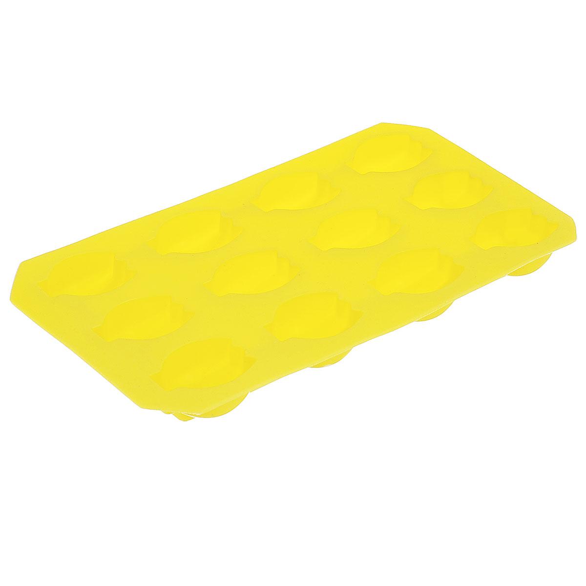 Форма для льда Home Queen Бананы, цвет: желтый, 12 ячеек58Форма Home Queen Бананы выполнена из высококачественного полипропилена и предназначена для изготовления шоколада, конфет, мармелада, желе и льда. На одном листе расположено 12 ячеек в виде связки бананов. Благодаря тому, что форма изготовлена из силикона, готовый десерт вынимать легко и просто. Силикон абсолютно безвреден для здоровья. Чтобы достать льдинки, эту форму не нужно держать под теплой водой или использовать нож. Можно мыть в посудомоечной машине. Общий размер формы: 21,5 см х 11,5 см х 2 см. Количество ячеек: 12 шт. Размер ячеек: 3,5 см х 2,5 см х 1,5 см.