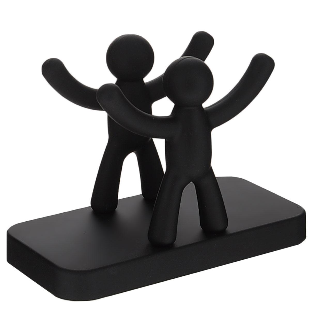 Салфетница Umbra Buddy, цвет: черный330281-040Салфетница Umbra Buddy, изготовленная из высококачественной полипропилена с покрытием Soft-touch, оформлена двумя фигурками человечков с поднятыми вверх руками. Салфетница оригинального дизайна украсит кухонный стол.