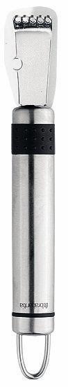 Нож для чистки лимона Brabantia. 210228210228Прочный и долговечный нож для чистки лимона Brabantia изготовлен из нержавеющей стали по бесшовной технологии (без сварных швов), что предотвращает накопление грязи в местах соединения деталей и облегчает уход за изделием. Идеально подходит для цитрусовых и получения шоколадной стружки для украшения десерта. Рукоятка нож для чистки лимона Brabantia имеет металлическую петлю для подвешивания. Можно мыть в посудомоечной машине. «Если хотите сэкономить, лучше купить один классный нож... Один небольшой, универсальный, которым можно делать буквально все. Еще один чуть побольше - резать хлеб, разбираться с мясом, разделывать курицу. Ну и маленький нож, которым можно почистить овощи, снять цедру, что-то измельчить.»