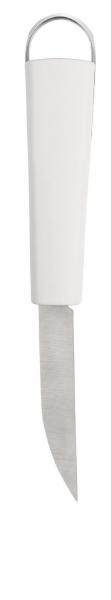 Нож универсальный Brabantia, длина лезвия 7,5 см. 400261400261Прочный и долговечный универсальный нож Brabantia изготовлен из нержавеющей стали и пластика. Универсальный нож для резки картофеля, овощей и фруктов. Рукоятка ножа Brabantia имеет металлическую петлю для подвешивания. Можно мыть в посудомоечной машине. «Если хотите сэкономить, лучше купить один классный нож... Один небольшой, универсальный, которым можно делать буквально все. Еще один чуть побольше - резать хлеб, разбираться с мясом, разделывать курицу. Ну и маленький нож, которым можно почистить овощи, снять цедру, что-то измельчить.»