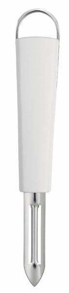 Нож для чистки Brabantia, цвет: белый. 400308400308Нож для чистки Brabantia предназначен для обработки овощей. Нож выполнен из нержавеющей стали, имеет удобную ручку из пластика и его можно мыть в посудомоечной машине. Удобная ручка и качественная сталь лезвия делают такой нож хорошим инструментом для ежедневной работы на кухне. «Если хотите сэкономить, лучше купить один классный нож... Один небольшой, универсальный, которым можно делать буквально все. Еще один чуть побольше - резать хлеб, разбираться с мясом, разделывать курицу. Ну и маленький нож, которым можно почистить овощи, снять цедру, что-то измельчить.»