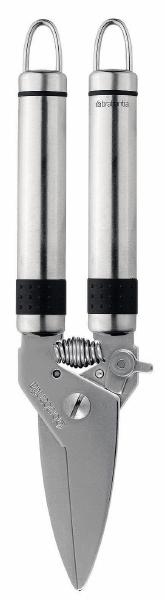 Ножницы для кухни Brabantia универсальные218002Кухонные ножницы Brabantia, изготовленные из нержавеющей стали, - необходимая для любой хозяйки вещь, особенно, если вы любите готовить мясные блюда. Ведь на самом деле они заметно повышают эффективность приготовления многих продуктов, хотя это может и не бросаться в глаза. Пружинный механизм создан для более комфортного использования ножниц. «Если хотите сэкономить, лучше купить один классный нож... Один небольшой, универсальный, которым можно делать буквально все. Еще один чуть побольше - резать хлеб, разбираться с мясом, разделывать курицу. Ну и маленький нож, которым можно почистить овощи, снять цедру, что-то измельчить.»