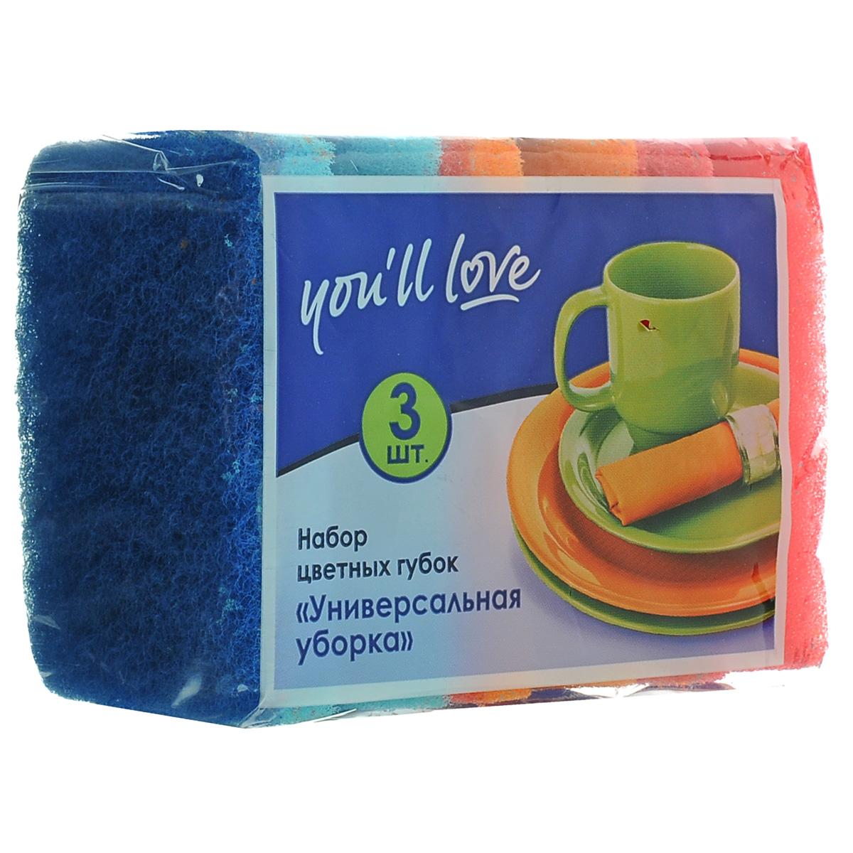 Губка для мытья посуды Youll love Универсальная уборка, 3 шт66617Губка для мытья посуды Youll love Универсальная уборка выполнена из крупнопористого поролона, который обеспечивает повышенное пенообразование и более длительный срок использования в сравнении с обычными губками. Абразивный слой выполнен из высокопрочной фибры. Благодаря углублению (профилю), губка позволяет дольше удерживать моющее средство внутри и расходовать его минимальное количество. Хорошо впитывает жидкость. Комбинация слоев с различной степенью жесткости позволяет применять губку как для деликатного мытья, так и для удаления сверхстойких загрязнений. Размер губки: 8,5 см х 6,5 см х 3,6 см. Комплектация: 3 шт. Плотность поролона: 22 г/м3.